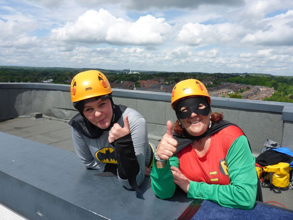 Daring duo Batman and Robin fancy dress abseil - Dolomite Training Charity Abseil