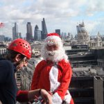 Santa Claus fancy dress abseil in London - Dolomite Training Charity Abseil